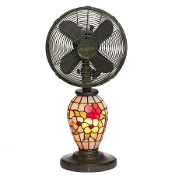 "10"" Mosaic Glass Table Fan - Flowers"
