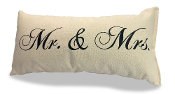"Mr and Mrs Pillow 100% Natural USA Made Canvas 8"" x 15"""