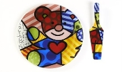 Romero Britto Cake Plate w/Server-Bear