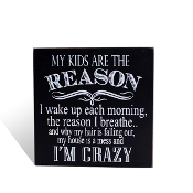 My kids are the reason I'm crazy, Block Wall Sign