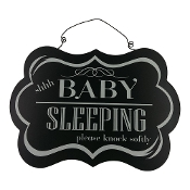 9x6.5x.25 wood hanging sign (SHH BABY SLEEP) black/white …