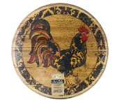 "16"" Wooden lazy Susan with Rooster Design"