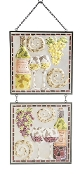 Mosaic Wine Glass Panel Wall Art with Chain - Set of 2