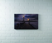 Ohio Wholesale, Lighted Pier at Christmas Canvas with Timer …