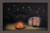 Lighted Camping Print Camper with Camp Fire Under Stars