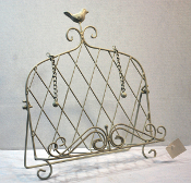 Metal Bird Design White Cookbook Stand