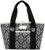 Sachi Insulated Fashion Lunch Tote, Black and White Damask