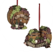 Kurt Adler 2-3/4-Inch Resin 3D Wine Barrel Ornament, Set of 2