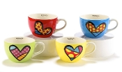 Romero Britto Cappuccino Mugs Heart Designs