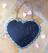 Zinc Decorative Hanging Chalkboard, Heart Shaped with Scalloped