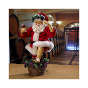Kurt Adler Fabriche Grape-Stomping Wine Santa Figurine, 10-Inch