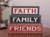 Faith, Family, Friends Wooden Novelty Blocks