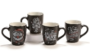 Giftcraft Chalk Talk Christmas Mugs, 4 Different Designs