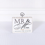 Wood Block Photo Holder, Mr and Mrs.