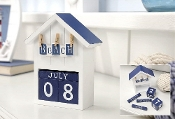 Blue & White Boat House Perpetual Desk Calendar
