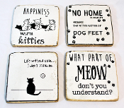 Cat Story Coasters, Set of Four