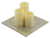 Pandora Silver Mosaic Tray With Flameless Pillar Candles