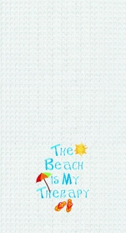 The Beach Is My Therapy Waffle Weave Kitchen Towel