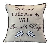 "16"" x 16"" Quilted Pillow, Dogs are Little Angels"