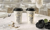 Broken Up and Laughing, Ceramic Travel Mugs, 2 Different Designs