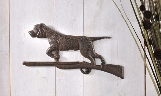 Antique Brown Cast Iron Hunting Dog and Shot Gun Wall Décor