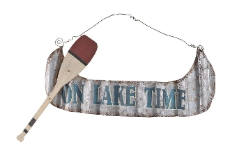 Gift Craft on Lake Time Metal and Wood Wall Sign