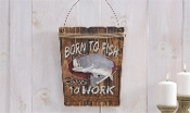 Born To Fish Wood and Burlap Wall Sign