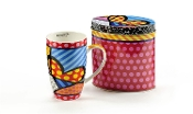 Romero Britto Bone China Hearts Mug in Gift Tin