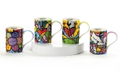 Romero Britto Gift Boxed New Bone China Mugs - Set of 4