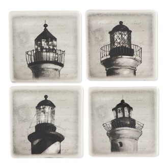 Black and White Lighthouse Drink Coasters