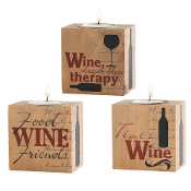 Wine Tea Light Holders, Set of Three