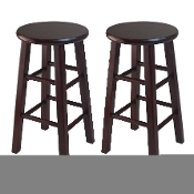 "Set of 2, 24"" Counter Stool, Square Legs, Espresso"