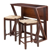 "Harrington 3-Pc Drop Leaf High Table, 2-24"" Rush Seat Stools"