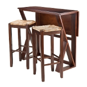 "Harrington 3-Pc Drop Leaf High Table, 2-29"" Rush Seat Stools"