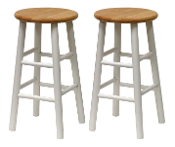 "Set of 2, Beveled Seat, 24"" Stool, Assembled"