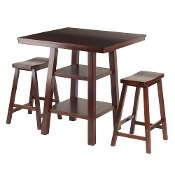 Orlando 3-Pc Set High Table, 2 Shelves w/ 2 Saddle Seat Stools
