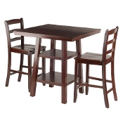 Orlando 3-Pc Set High Table, 2 Shelves w/ 2 Ladder Back Stools
