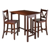 Lynnwood 3-Pc Drop Leaf Table with 2 Counter V-Back Stools