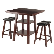 Orlando 3-Pc Set High Table, 2 Shelves w/ 2 Cushion Seat Stools