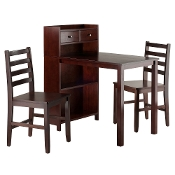 Tyler 3-Pc Set Table, Storage Shelf w/ Ladder Back Chairs