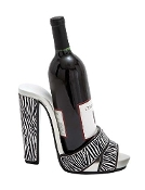 Zebra Print Wine Bottle Holder High Heel Sandal