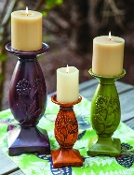 Butterfly Ferns Ceramic Candle Hold, Set Of Three