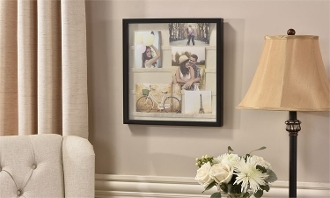 4-Pocket Black Framed Keepsake Frame