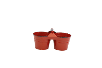 Red Enamel Dual Bucket Organizer, With Handle