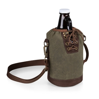Picnic Time Canvas Lace up Growler Tote, Khaki Green