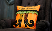 Orange Witch's Legs, Happy Halloween Throw Pillow
