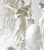 White Glitter Angel Violin Christmas Winter Home Décor