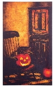 Primitive Rocking Chair LED Halloween Stretched Canvas Wall Art
