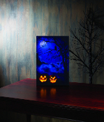 Vertical Lighted Canvas Art Print of Spooky Jack-O-Lanterns