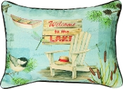 "Manual Throw Pillow, 18 x 13"", Lake Time Welcome to The Lake"